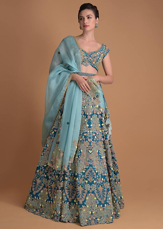 Seaside Blue Choli With Embossed Floral Embroidery In Repeat Pattern On The Kalis Online - Kalki Fashion