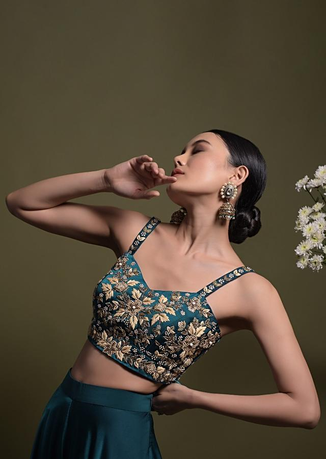 Teal Palazzo Suit In Milano With Floral Jaal Embroidery And Net Jacket Online - Kalki Fashion