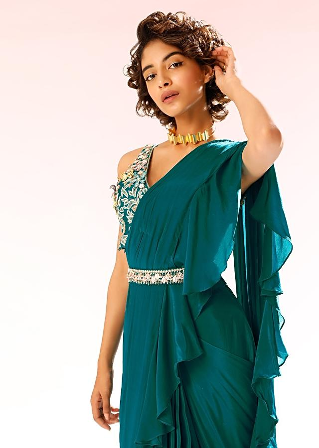 Teal Ready Pleated Ruffle Saree In Crepe With 3D Flower Embroidered Blouse And Cinched At The Waist With A Belt Online - Kalki Fashion