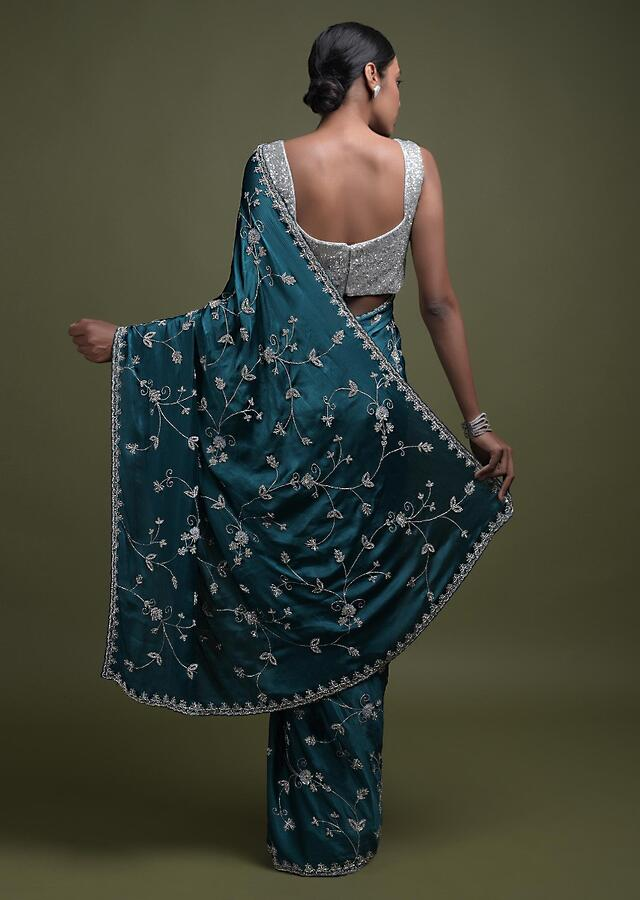 Teal Saree In Chinon With Stone Work In Floral Jaal Pattern Online - Kalki Fashion