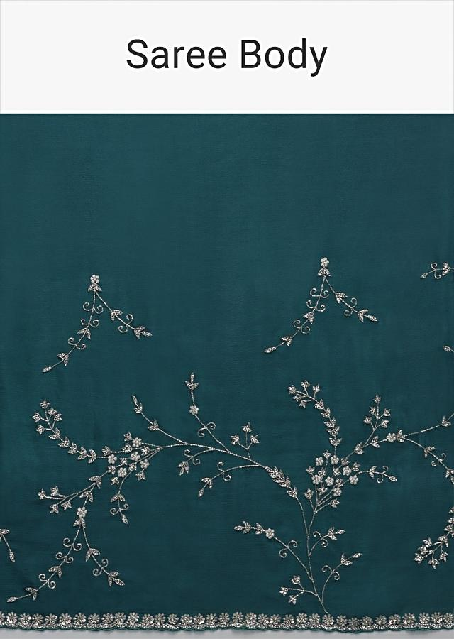 Teal Saree In Chinon With Stones, Pearls And Cut Dana Embellished Floral Jaal Online - Kalki Fashion