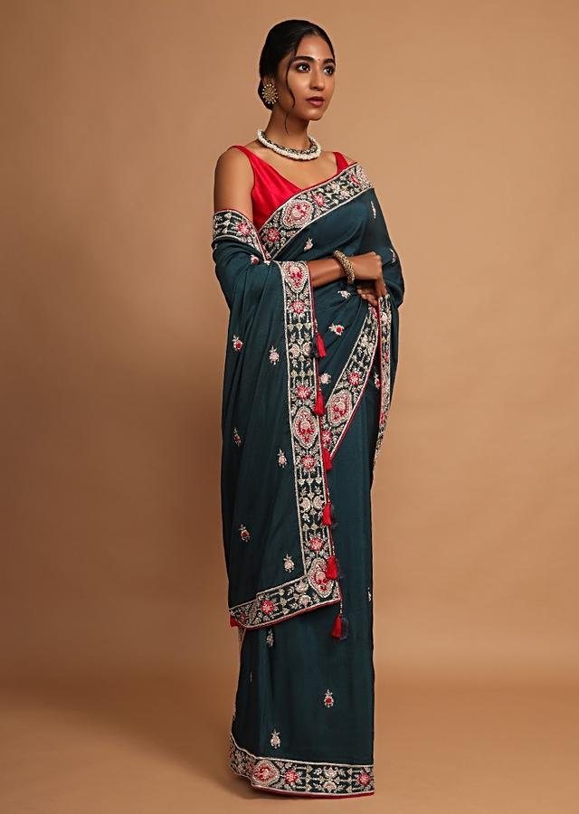 Teal Saree In Dupion Silk With Floral Buttis And Border Using Colorful Thread Work Online - Kalki Fashion