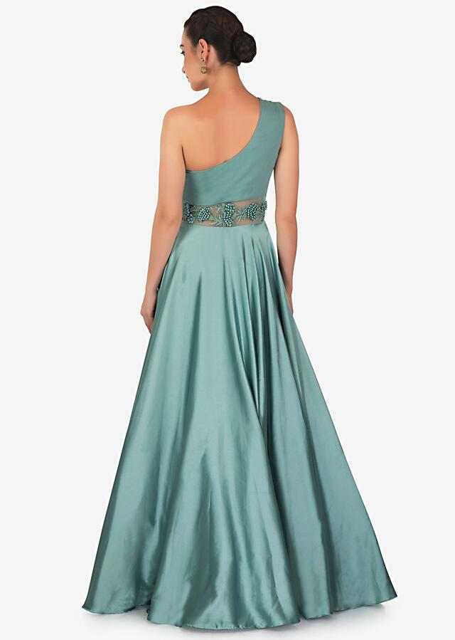 Teal Drape Gown In Satin Georgette Designed With French Knot And Potli Work Online - Kalki Fashion
