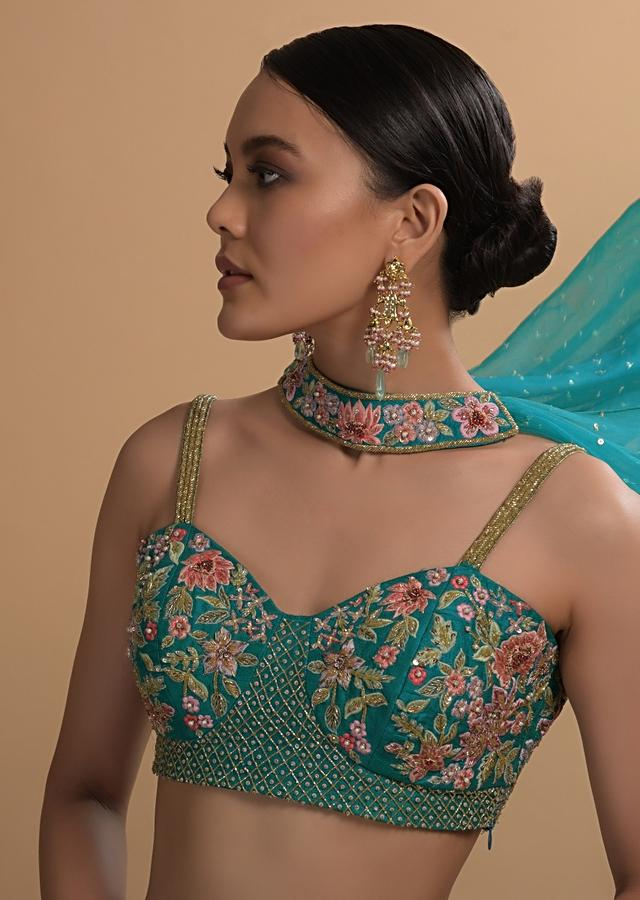 Teal Sharara And Crop Top Set With Colorful Resham, Cut Dana And Moti Embroidered Spring Blooms Online - Kalki Fashion