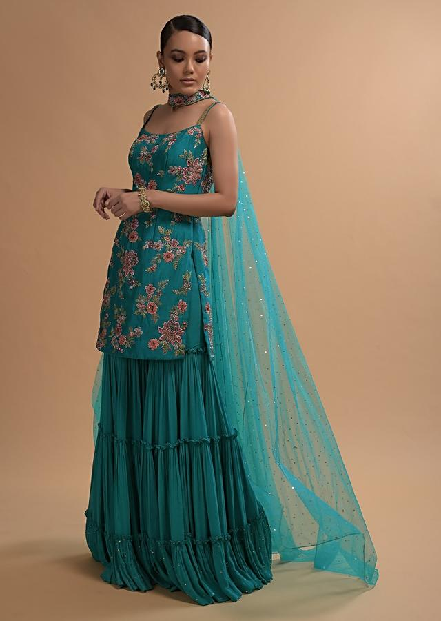 Teal Sharara Suit With Colorful Resham, Cut Dana And Moti Embroidered Spring Blossoms Online - Kalki Fashion