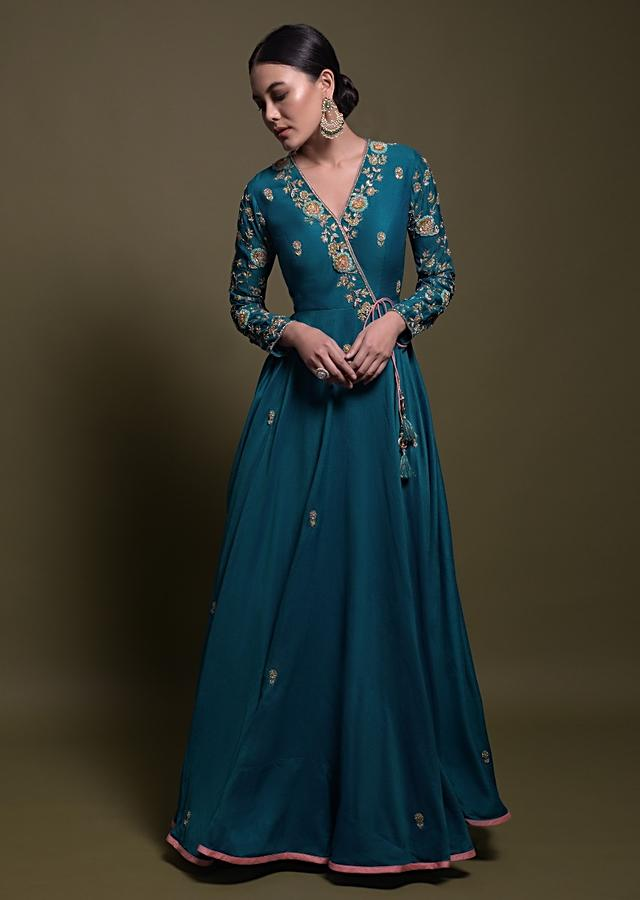 Teal Silk Angrakha Style Suit In Silk With Blush Pink Net Dupatta And Floral Embroidery Online - Kalki Fashion