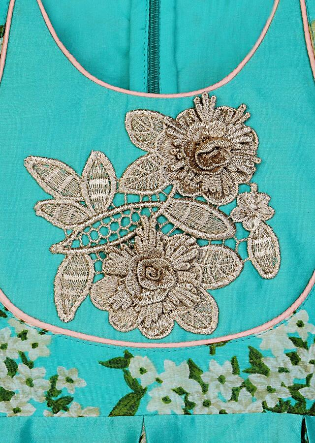 Teal Top And Peach Dhoti Set With Floral Printed Patches Online - Free Sparrow