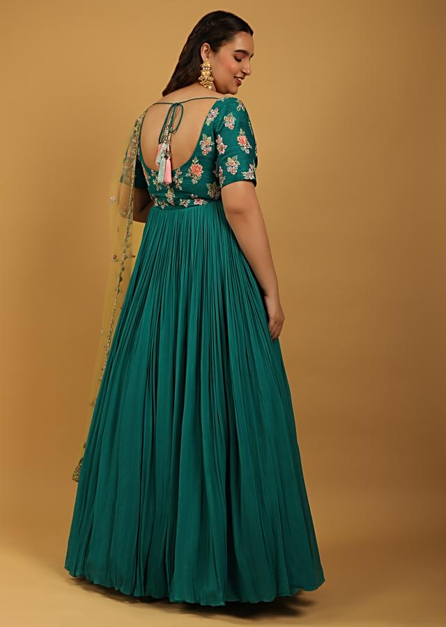 Teal Anarkali Suit In Crushed Georgette With Colorful Resham And Cut Dana Embroidered Floral Buttis Online - Kalki Fashion