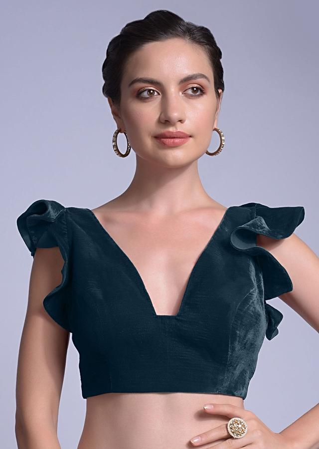 Teal Blouse In Velvet With A Trapeze Neck And Ruffle Sleeves Online - Kalki Fashion