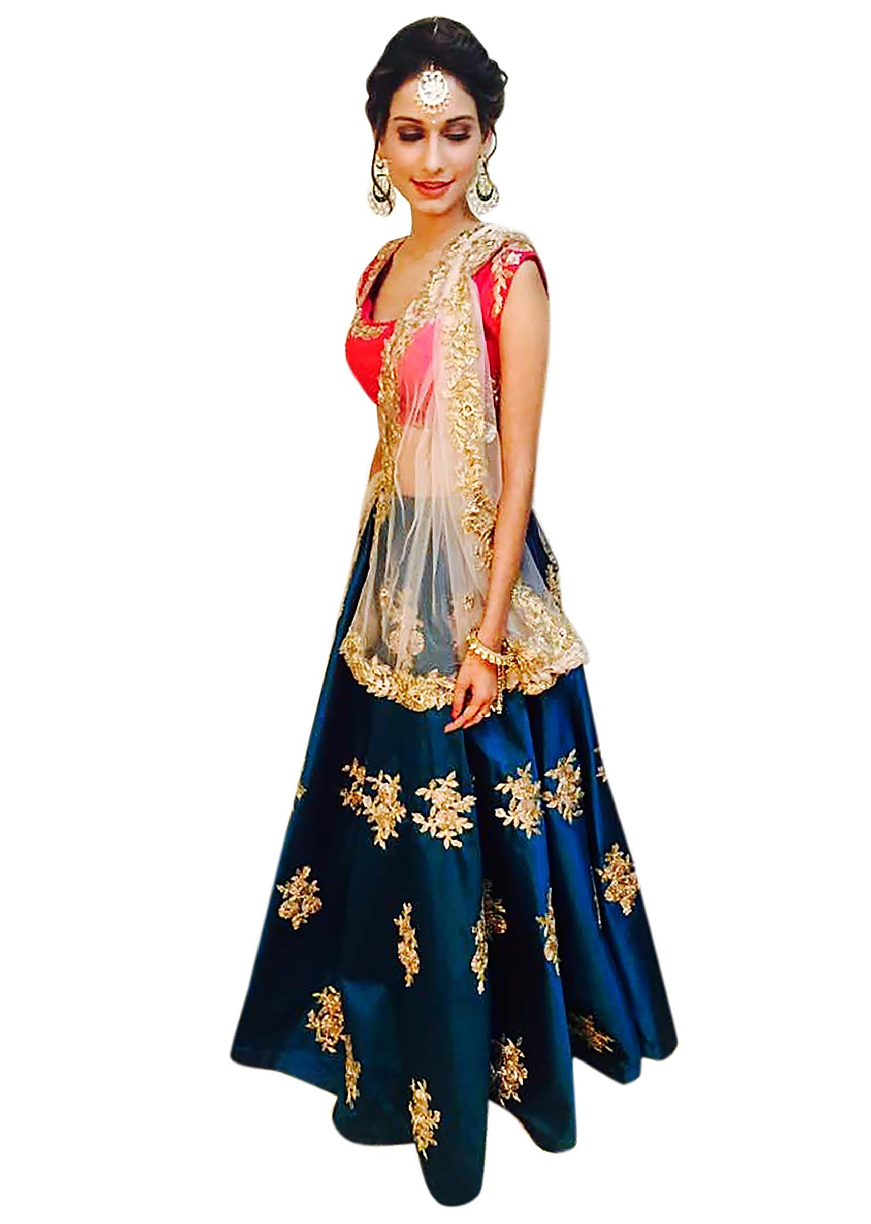 37345daf45 Teal blue and coral lehenga Choli with gotta lace work only on KalkiMore  Detail