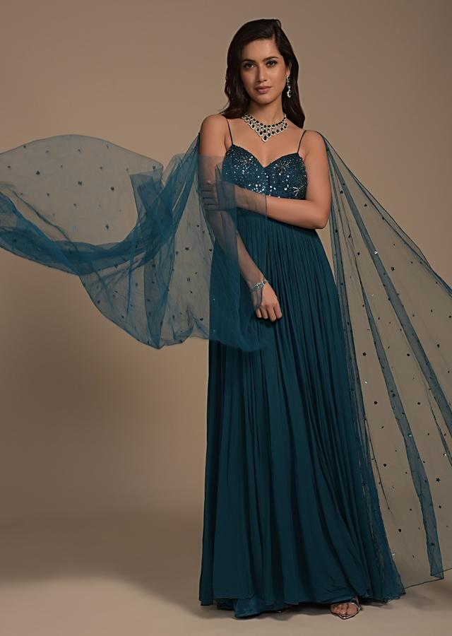 Teal Blue Indowestern Gown With Embellished Raw Silk Bodice And Attached Net Dupatta Online - Kalki Fashion