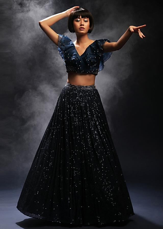 Teal Lehenga In Sequins Fabric Paired With A Ruffled Crop Top Adorned In Cut Dana And Moti Work Online - Kalki Fashion