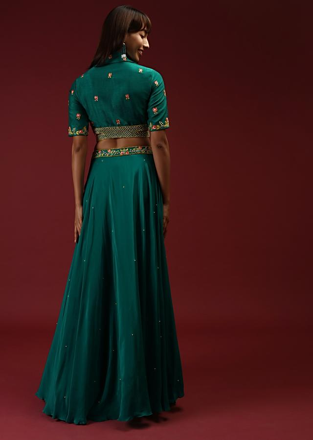 Teal Skirt And Crop Top With Lapel Collar Neckline And Side Cut Out Detailing Featuring Multi Colored Handwork Online - Kalki Fashion