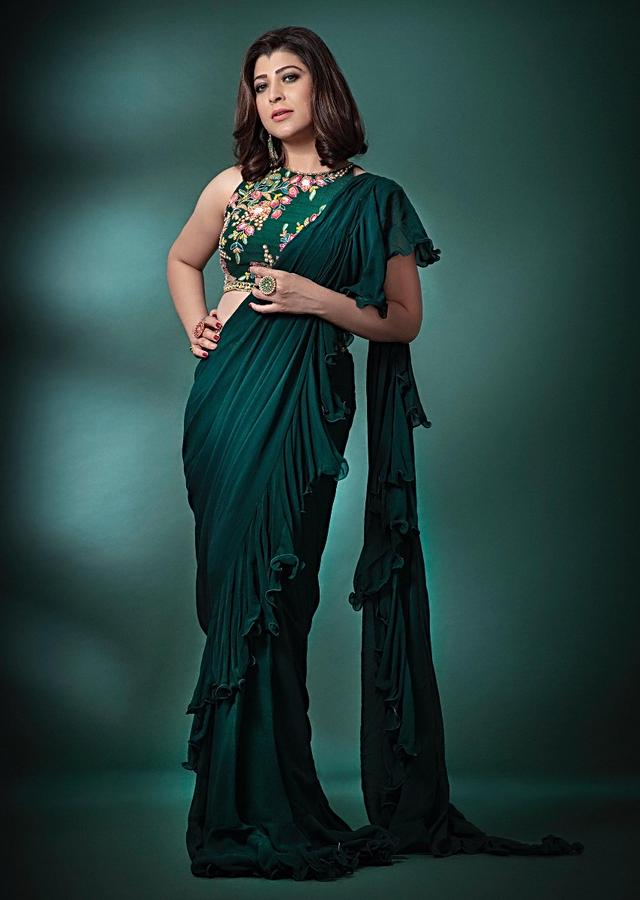 Tejaswini Pandit In Kalki Bottle Green Ready Pleated Saree In Georgette With Ruffled Pallu