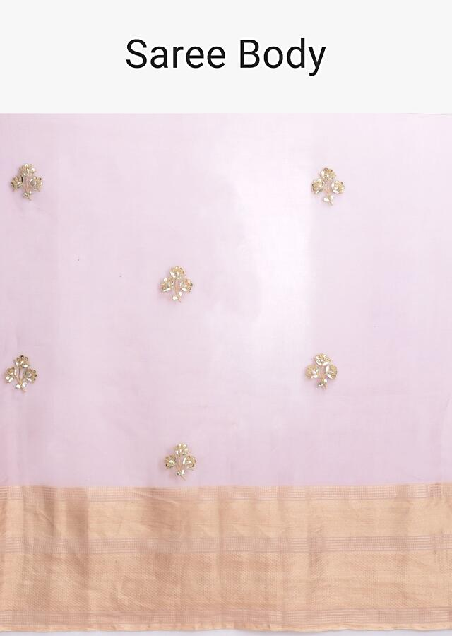 Thulian Pink Saree In Organza Silk With Buttis And A Printed Raw Silk Blouse Online - Kalki Fashion
