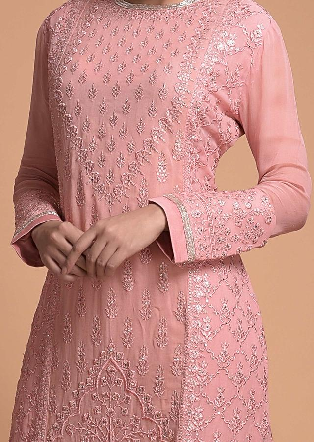 Thulian Pink Sharara Suit With Thread And Kundan Work In Floral And Moroccan Motifs Online - Kalki Fashion