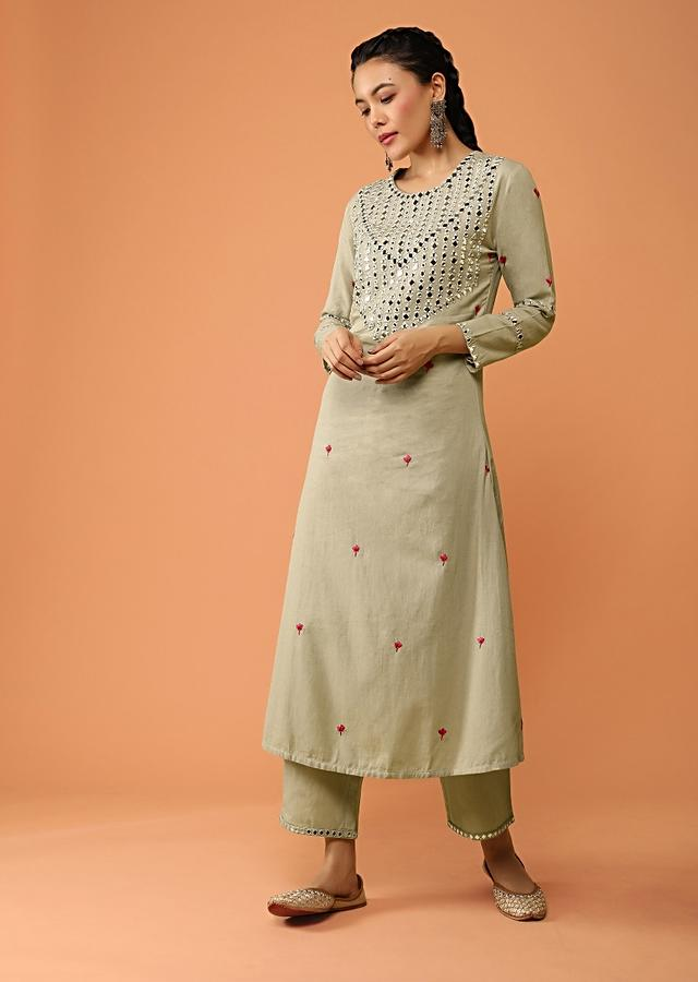Thunder Grey A Line Suit In Jute Cotton With Mirror Abla Embroidered Yoke Design And Straight Cut Pants Online - Kalki Fashion