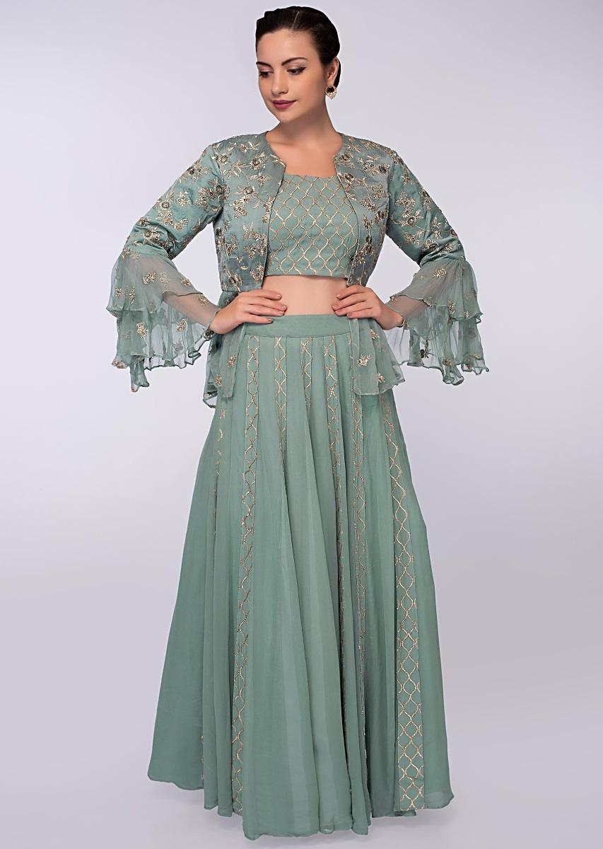 d4d612c0a19d5 Tiffany blue lehenga and blouse paired with peplum style jacket only on KalkiMore  Detail
