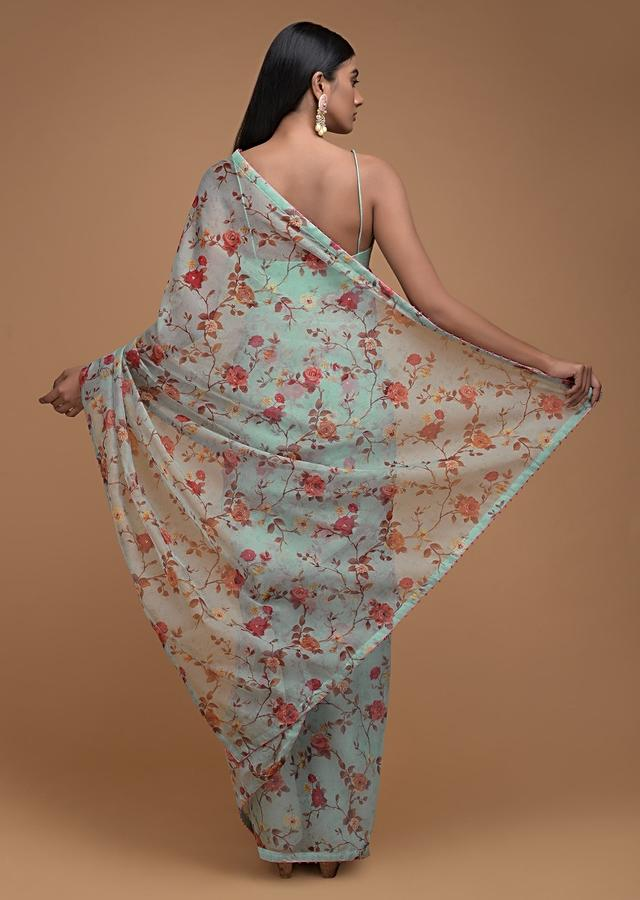 Tiffany Blue Saree In Organza With Floral Print Along With French Knots On The Border Online - Kalki Fashion