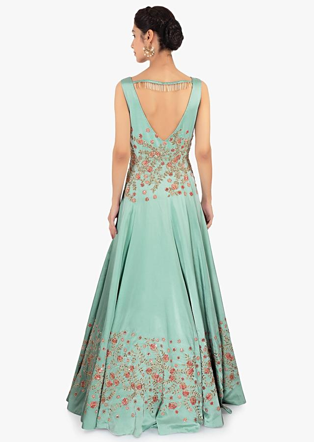 Tiffany Blue Gown In Satin With Zari And Resham Floral Embroidery Online - Kalki Fashion