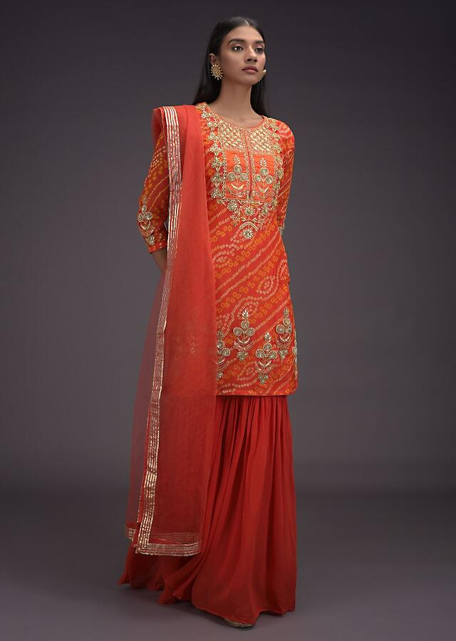 Tiger Orange Sharara Suit In Georgette With Bandhani Print And Gotta Work In Floral Pattern Online - Kalki Fashion
