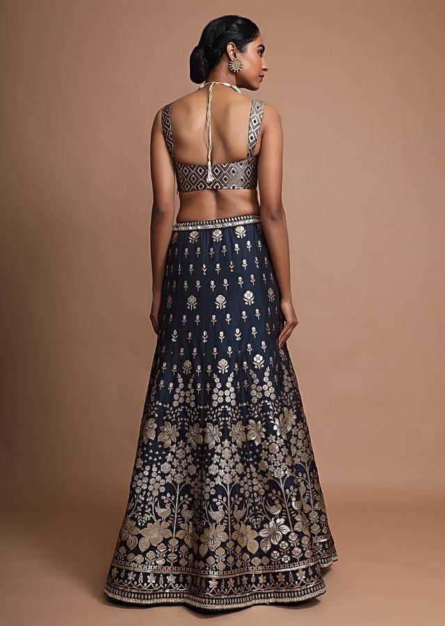 Tina Datta In Kalki Midnight Blue Lehenga Choli With Weaved Kali Design In Floral And Bird Motifs With Gotta Patti Accents