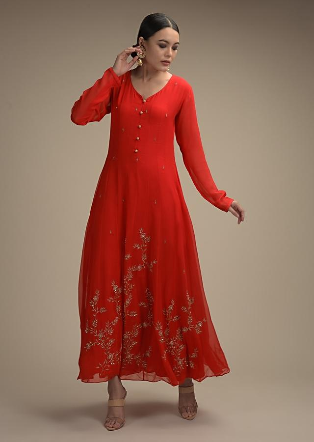Tomato Red Anarkali Suit In Georgette With Cut Dana And Moti Embroidered Floral Motifs On The Hemline Online - Kalki Fashion
