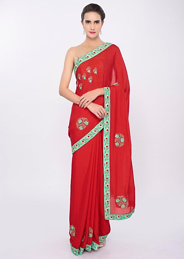 Tomato Red Saree In Chiffon With Floral Embroidery And Butti Online - Kalki Fashion
