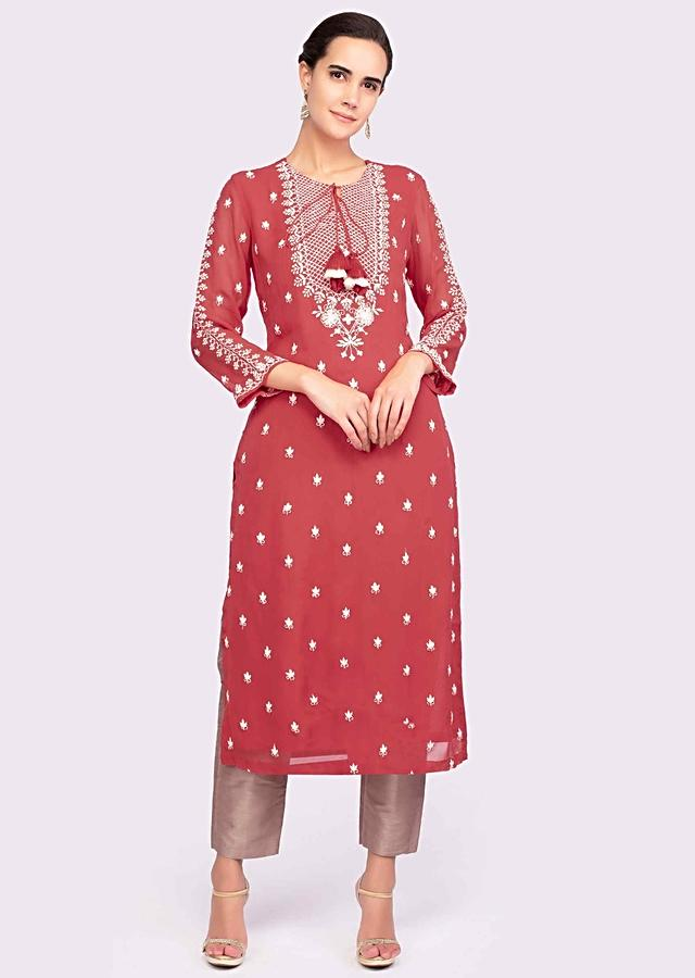 Tomato Red Kurti In Georgette With Thread Embroidery And Butti Online - Kalki Fashion