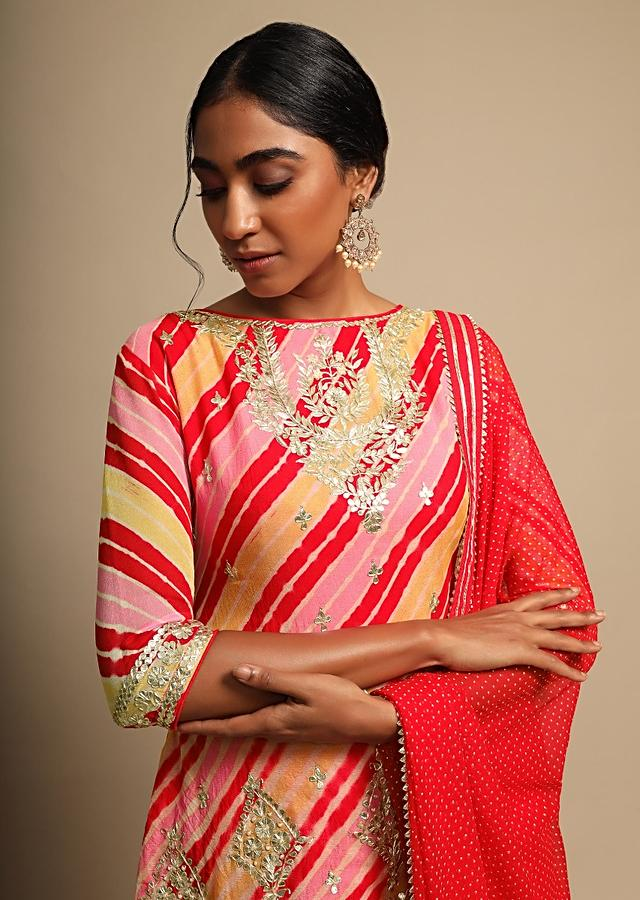 Tomato Red Skirt And Multi Color Lehariya Printed Kurti Adorned With Gotta Patti Work Online - Kalki Fashion