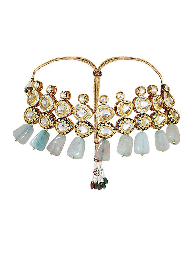 Traditional Kundan Choker Necklace Set With Blue Quartz Beads Online - Joules By Radhika