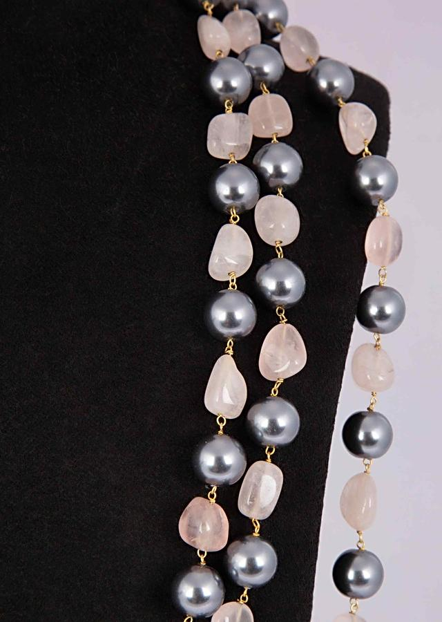 Triple Layer Fancy Party Wear Necklace Adorn In Grey Pearls And Ballet Pink Beads Online - Kalki Fashion