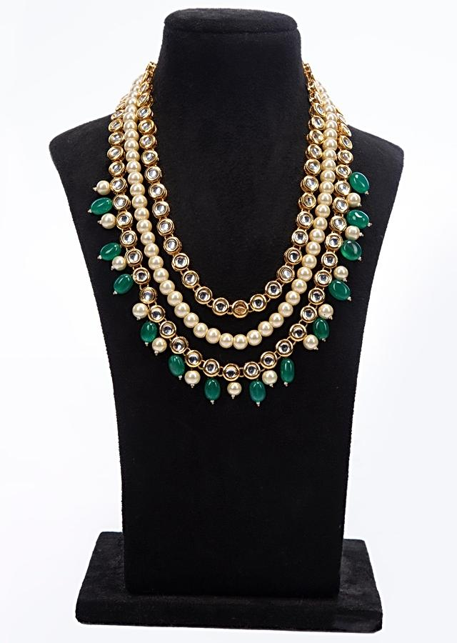Triple layer traditional necklace with kundan, pearl and beads only on Kalki