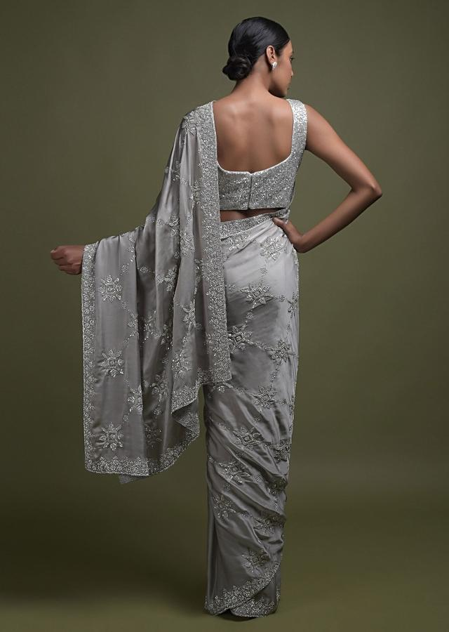 Trout Grey Saree In Satin With Cut Dana, Kundan And Sequins Embroidered Geometric Floral Pattern Online - Kalki Fashion