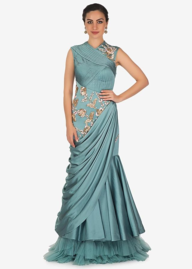 Turkish Blue Satin Gown with Resham Work and Pleated Bodice Only on Kalki