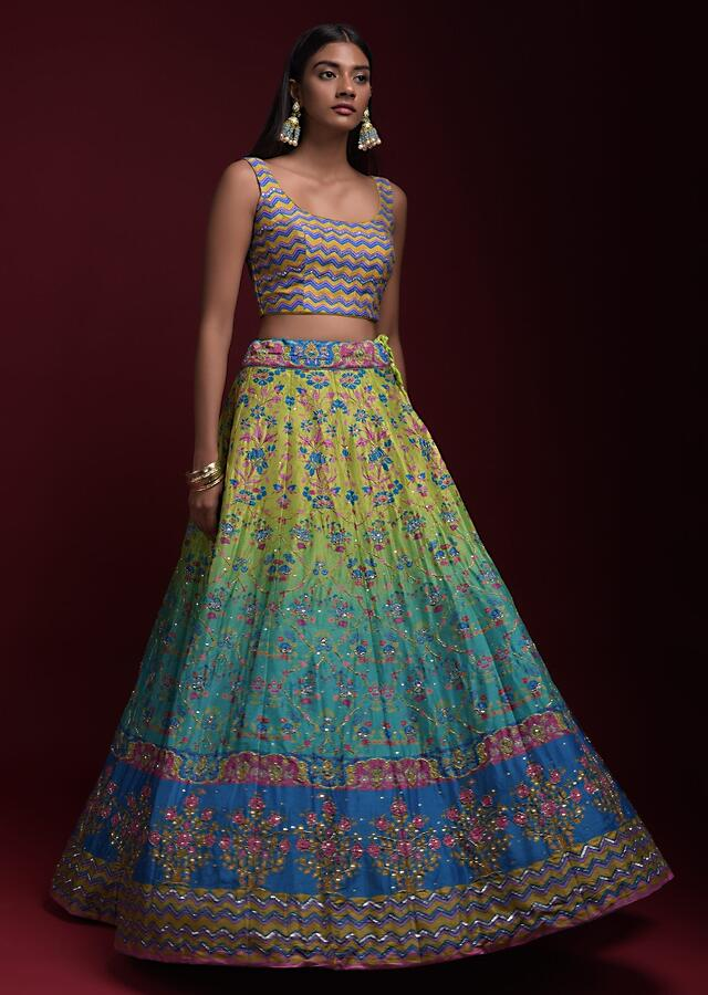 Turq And Green Shaded Lehenga With Printed Chevron And Floral Motifs And Jaal Pattern Online - Kalki Fashion