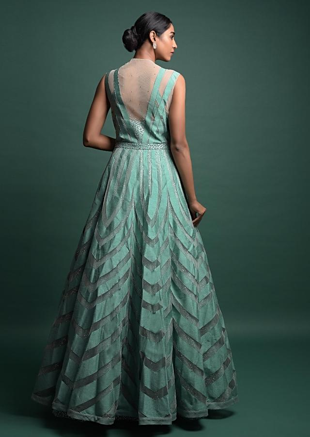 Turq Ball Gown In Net Adorned With Applique Work And Shimmer Under Layer Online - Kalki Fashion