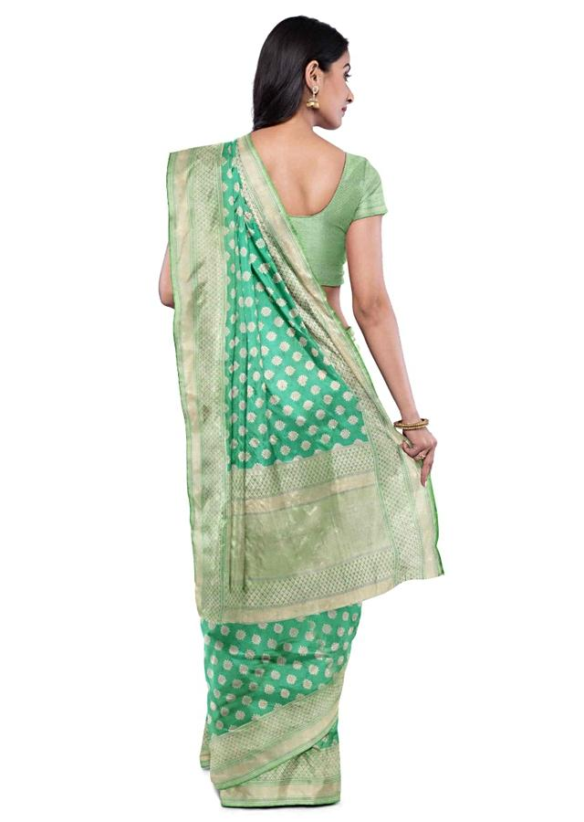 Turq Saree In Banarasi Silk With Weaved Floral Buttis Online - Kalki Fashion