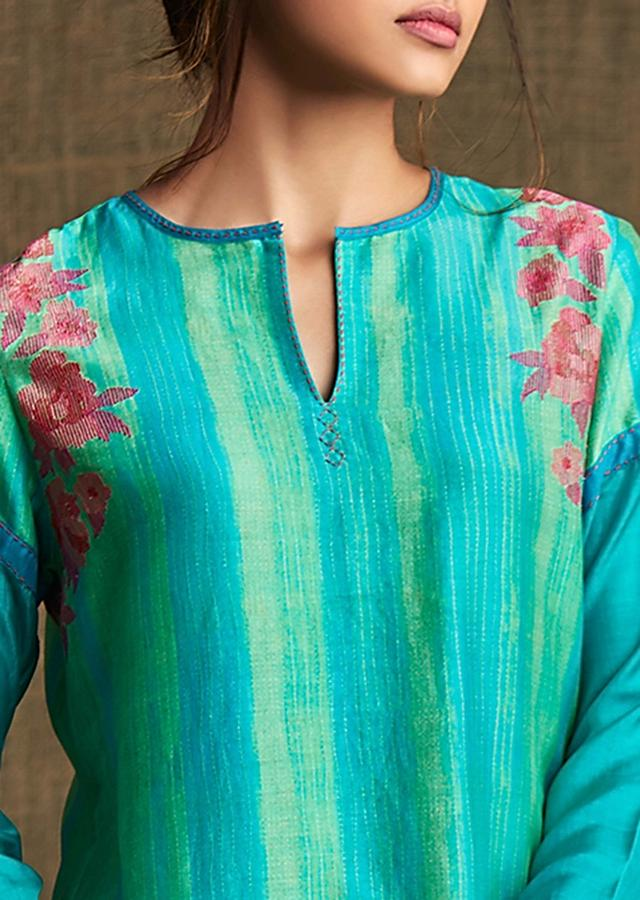 Turq Blue And Parrot Green Kurti In Silk With Resham Embroidery In Floral Motif Online - Kalki Fashion
