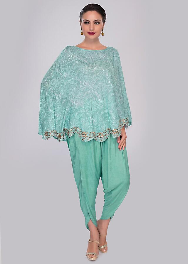 Turq Blue Dhoti Pant Paired With Cape Top In Print And Scallop Border Online - Kalki Fashion