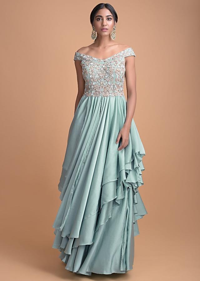 Turq Blue Gown In Satin With Handkerchief Layer And Embellished Bodice Online - Kalki Fashion
