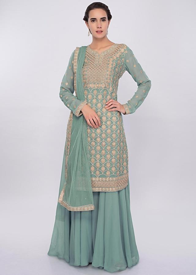 Turq Blue Palazzo Suit Set With Jaal Embroidery Online - Kalki Fashion