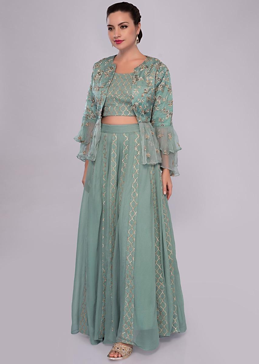 39f1a8785550f Turq blue lehenga set paired with fancy jacket with frills and gathers only  on Kalki