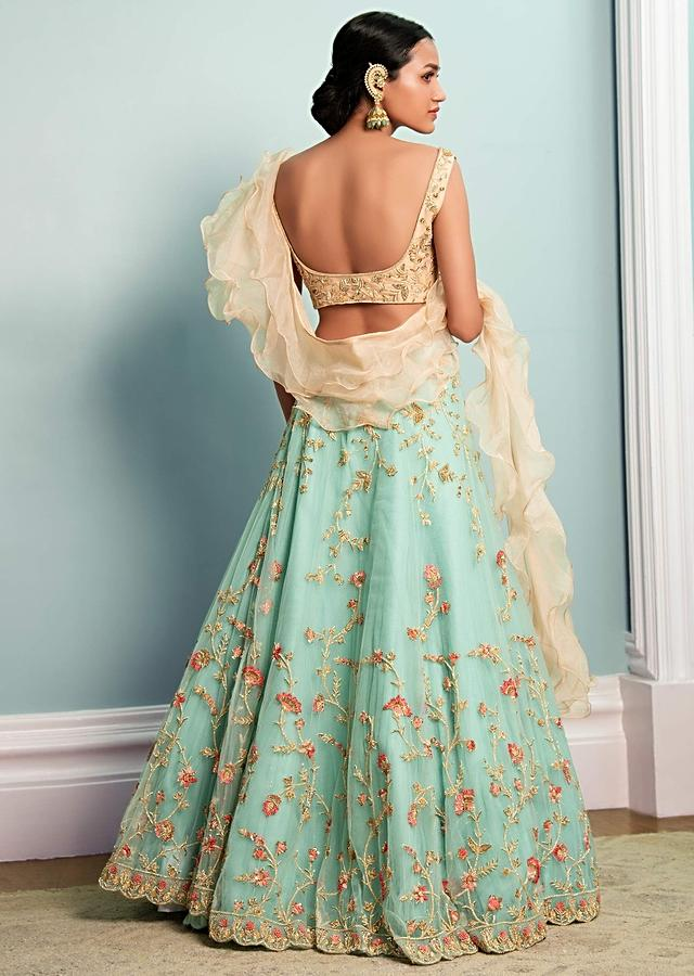 Turq Blue Lehenga With Beige Choli With Attached Ruffle Organza Dupatta Online - Kalki Fashion