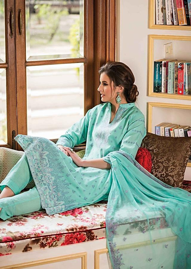 Turq Blue Unstitched Suit Featuring In Weaved Embroidered Butti And Placket Online - Kalki Fashion