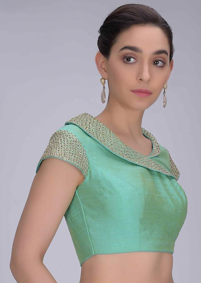 Turq Green Blouse In Two Toned Raw Silk With Fancy Collar Online - Kalki Fashion