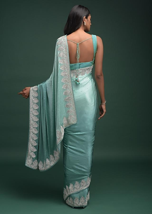 Turq Ombre Saree In Satin Blend With Stone Work In Contemporary Peacock Feathers On The Border Online - Kalki Fashion