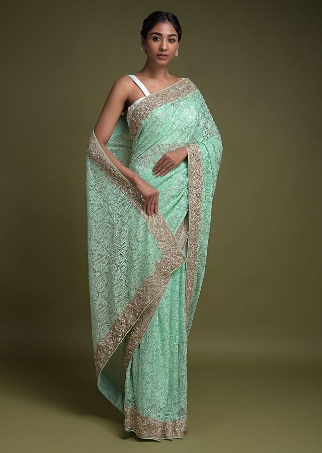 Turq Saree In Net With Thread And Cut Dana Embroidered Paisley Pattern Online - Kalki Fashion
