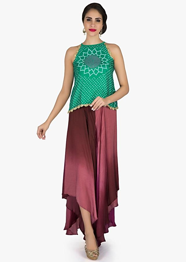 Turq Green Bandhani Top With Burgundy Fancy Palazzo Pant Online - Kalki Fashion