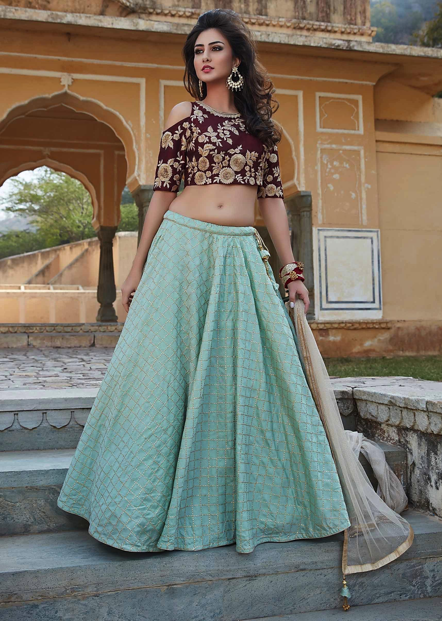 804598161 Turq green lehenga with burgundy crop top blouse in resham and zari work  only on KalkiMore Detail